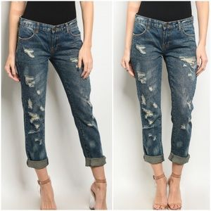 PREORDER Dark Denim Distressed Embellished Jeans